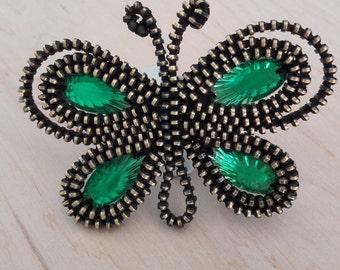 Insect brooch Butterfly brooch Zipper Jewelry Butterfly pin Bug brooch Butterfly gift Unusual brooch Original brooch