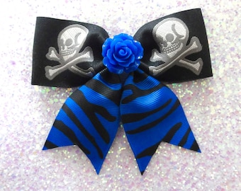 Sale - Psycho Rose Skull and Crossbone Blue Zebra Hair Bow - Psychobilly - Retro - 50s