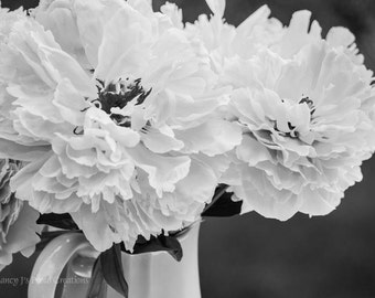 Peony Art, Black and White Photography, Pale Pink Wall Art, Feminine Decor, Dreamy Floral Print, Teal Wall Art, Flower Photo Botanical Print