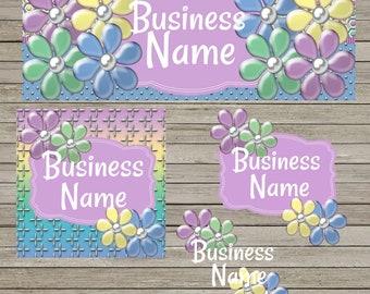 3D Pastel Flower Facebook Business Set