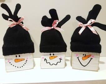 Snowmen block set (set of 3)