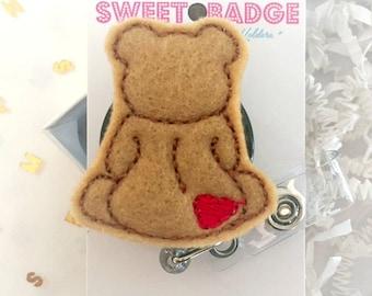 Feltie Badge Reel - Bear -  Badge Holder - Retractable Badge Reel - ID Badge Clip - Nurse - RN Badge -  Badge - Mysweetbadge