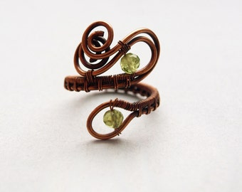 Green Peridot Ring Copper Adjustable Ring Wire Wrapped Gemstone Jewelry Unique Gift for her Ring with natural stone Olivin Ring WoA09