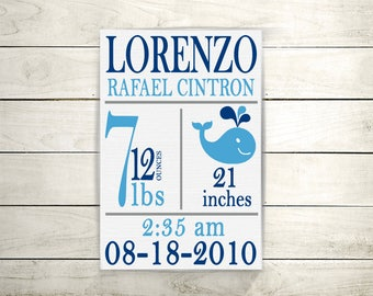 Nursery decor, New Baby Gift, New Baby Wall Art, Nursery,  Birth Stats Sign, Personalized Baby Stats, Baby Boy, Birth Announcement, Canvas