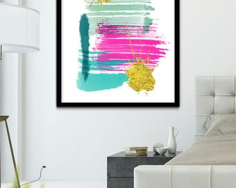 Abstract Brush Stroke Painting, Modern Art Printable, Abstract Print, Abstract Art Decor, Turquoise, Mint, Pink and Gold Abstract Wall Art
