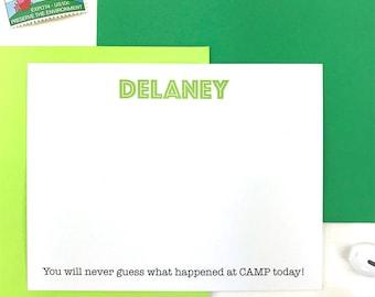 Kids Camp Stationery, Camp Sweet Camp Notes, Sleep Away Camp Stationary