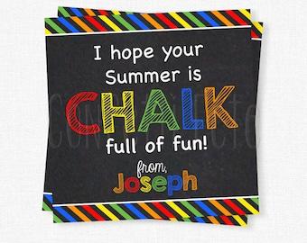 Chalk Summer Tag, End of School Year Tag, Last Day of School Gift Tag, Printable Summer Tag