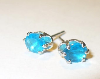 Neon Blue Apatite Stud Earrings - Gorgeous Vivid Color Natural Genuine Gemstones in Solid Sterling Silver