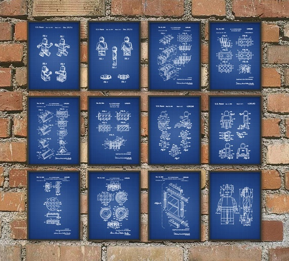 Lego Patent Prints Set of 12 Lego Wall Art Posters Lego