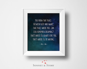 Peter Pan Quote | J M Barrie | Disney | You Know that Place Between Sleep and Awake | Nursery | INSTANT DOWNLOAD 8x10 Printable Digital Art