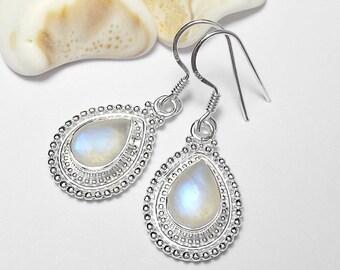 Handcrafted 925 Sterling Silver Moonstone Gemstone Earrings