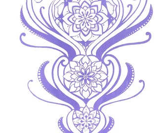 Limited Edition Purple Mandala Design ~ Screen Print on Paper ~ 11 x 14 ~ Original Art ~ ONLY 3 Available