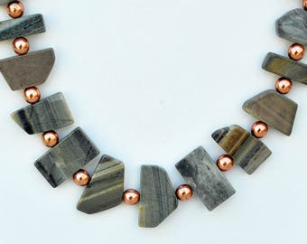 Silver Leaf Jasper and Copper Necklace