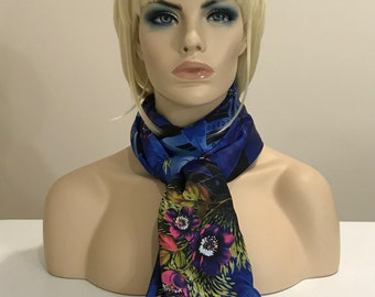 Long blue printed floral print scarf, printed satin scarf, silky scarf, floral scarf