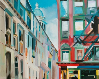 Original Oil painting Cityscape  Modern Art