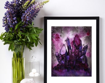 "8x10 Print ""I saw Eternity the other night,"" Crystal Intuitive Artwork - Pink & Purple Watercolor and Ink Art"