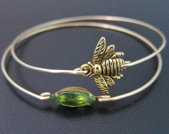 Honey Bee Bracelet Set, Honey Bee Jewelry, Queen Bee Jewelry, Gold Stack Bracelets, Green Jewelry, Stacked Braclet Set, Honeybee Jewelry