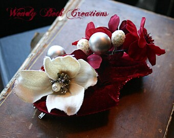 Red Velvet Cake Hair Clip Fascinator - Belly Dance, Wedding, Valentine, Prom, Vegan, ATS, Tribal Fusion, Hair Garden, Red, White, Pearl