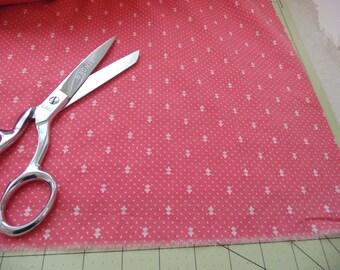 vintage small print fabric pink white polka dots fluer de lis