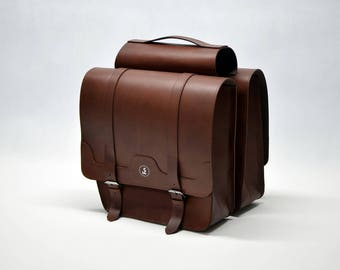 Double leather panniers, leather saddlebag, gifts for cyclists, double panniers, bicycle panniers, bike panniers, hand-crafted panniers