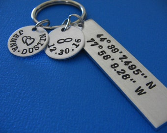 Couples Keychain - Coordinates Keychain - Custom Couples Keychain - Custom Keychain - Personalized Keychain - Gift for Him - Gift for Her