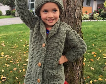 Saraid toddler coat and hat PDF knitting pattern
