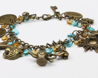 Aladdin Charm Bracelet – Princess Charm Bracelet – Fairy Tale Jewelry – Fairy Tale Bracelet – Adult Charm Bracelet