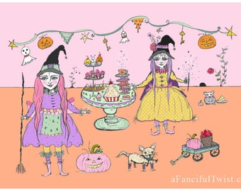 Whimsical Witches Party - 5 Postcard Set