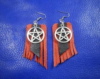 Red and black Leather earrings Pentagram, leather earrings, boho leather earrings, custom earrings leather, carved leather earrings