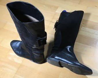 1980's Italian Leather and Suede Boots (Caiman)