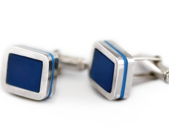 Personalized cufflinks for men, nautical blue cuff links gift for Anniversary father of the Groom bride husband, wedding Groomsmen Cufflinks