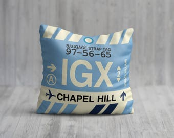 IGX Chapel Hill Baggage Tag Pillow (U.S. College Towns)