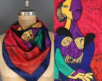 Vintage Picasso Scarf - 90s Picasso Art Print Scarf - 1990s Picasso Abstract Art Satin Scarf - Picasso Surrealist Female Form Scarf