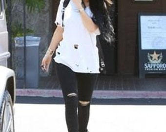 Get The Look Kylie Jenner/ Celebrity Style Jeans /Plus Size Available/Cut Thigh  Rip Knee /Black Wash Denim
