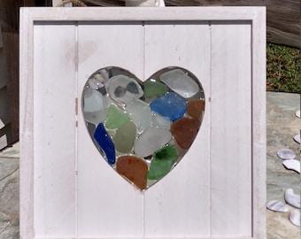 Sea Glass Heart Mosaic Wood Art Wall Hanging Nautical Beach Ocean Decor