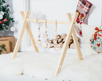 Baby gym with toy set / Organic baby gym toys / Wooden baby gym / Activity Gym and Baby Gift / Wooden Mobile