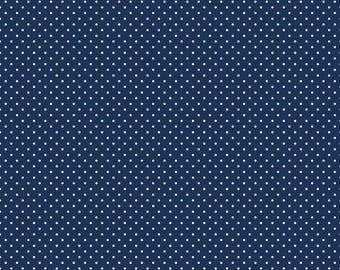 Riley Blake - Flannel Swiss Dot Navy from the collection Flannel Basics