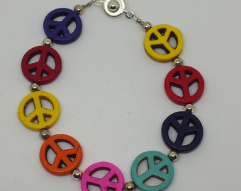 Colorful Peace Sign Bracelet