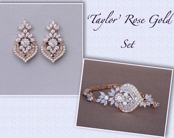 Rose Gold Jewelry SET, Rose Gold Earrings & Bracelet Set, Rose Gold Bridal Set , Rose Gold Wedding Jewelry, TAYLOR RGC Set