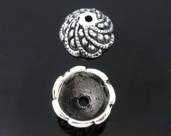 Ornate CAP, silver 11x6mm, set of 10 Pcs