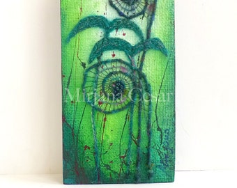 Original artwork * Unfurling XXI * home decor, fern, fiddleheads, mixed media collectible art mounted on cradled wood panel 12 x 6