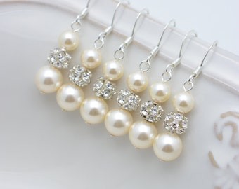 3 Pairs Ivory Pearl and Rhinestone Earrings, Bridesmaid Ivory Pearl Earrings, Cream Pearl Earrings, Pearl and Crystal Long Earrings 0150