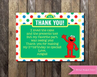 Sesame Street Thank You, Elmo Thank you, Thank You with Picture, Elmo, Sesame Street, First Birthday, 1st Birthday, Printable Invitation