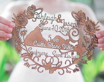 Personalized Wood laser cut invitation