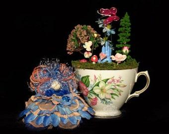 Faerie Button and her Castle Teacup Nursery, Fairy, OOAK, Flowers, Diorama, Castle