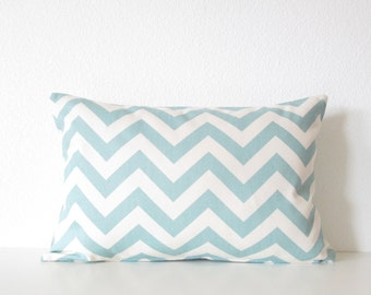 Pillow Cover - Zig Zag - Village blue - Aqua blue and natural - Chevron - Cushion Cover