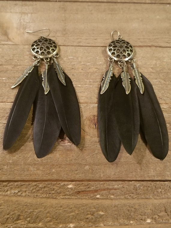 Black Feather Dream Catcher Base Drop Down Dangle Native American Earth Jewelry Hippie Boho Natural Style (E140)