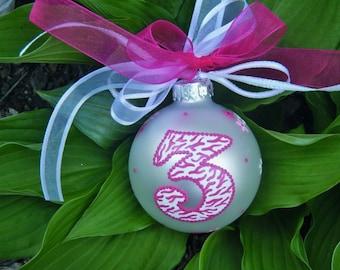 Zebra Birthday Ornament, Number THREE - Personalized Zebra Striped - Hand painted Hot Pink Zebra Print - Glass Ball, Milestone Birthday
