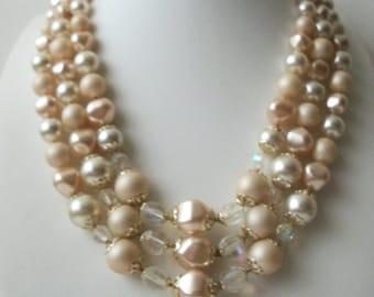 ON SALE Vintage 1950s JAPAN Signed Molded Pressed Triple Strand Necklace 20117