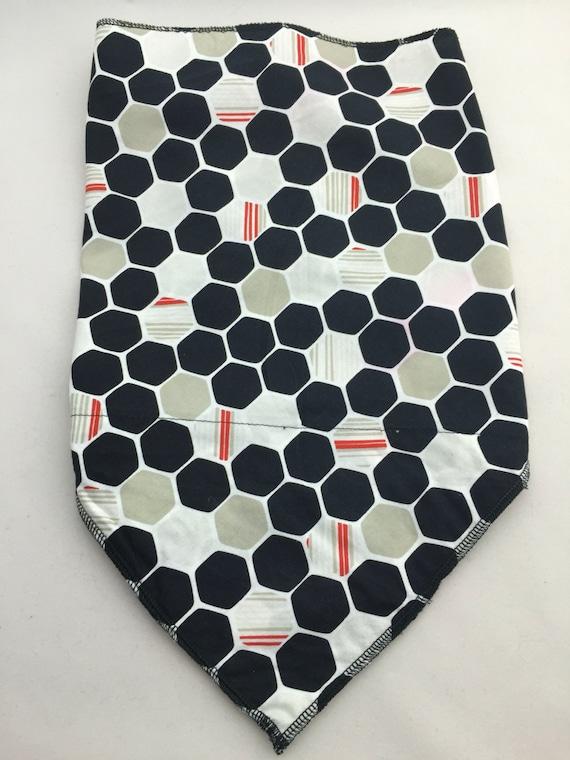 Digital Honeycomb: Cotton Stash pocket Bandana w/Black, white, taupe and red octagon print